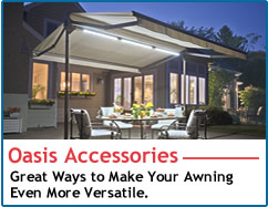 sunsetter mororized and manual oasis freestanding awnings